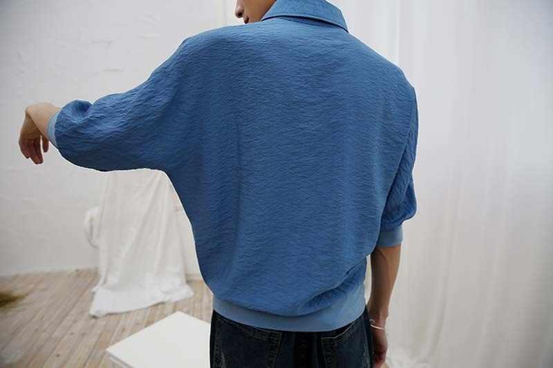 2019 חדש גאות זכר שרוול חולצה כתף עטלף קצר T הדפסת סוודר קמטים עליון דק בגד streetwear משלוח חינם