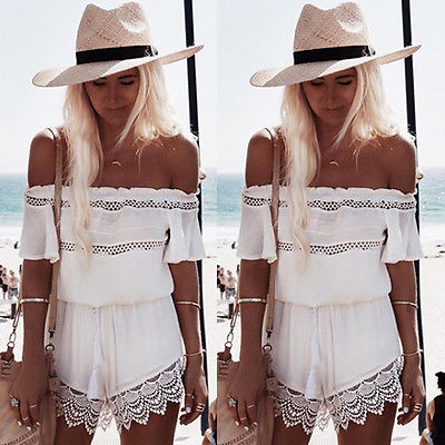 2018 New arrival Womens Casual Floral Playsuit Jumpsuit Off Shoulder Ladies Party Romper Shorts