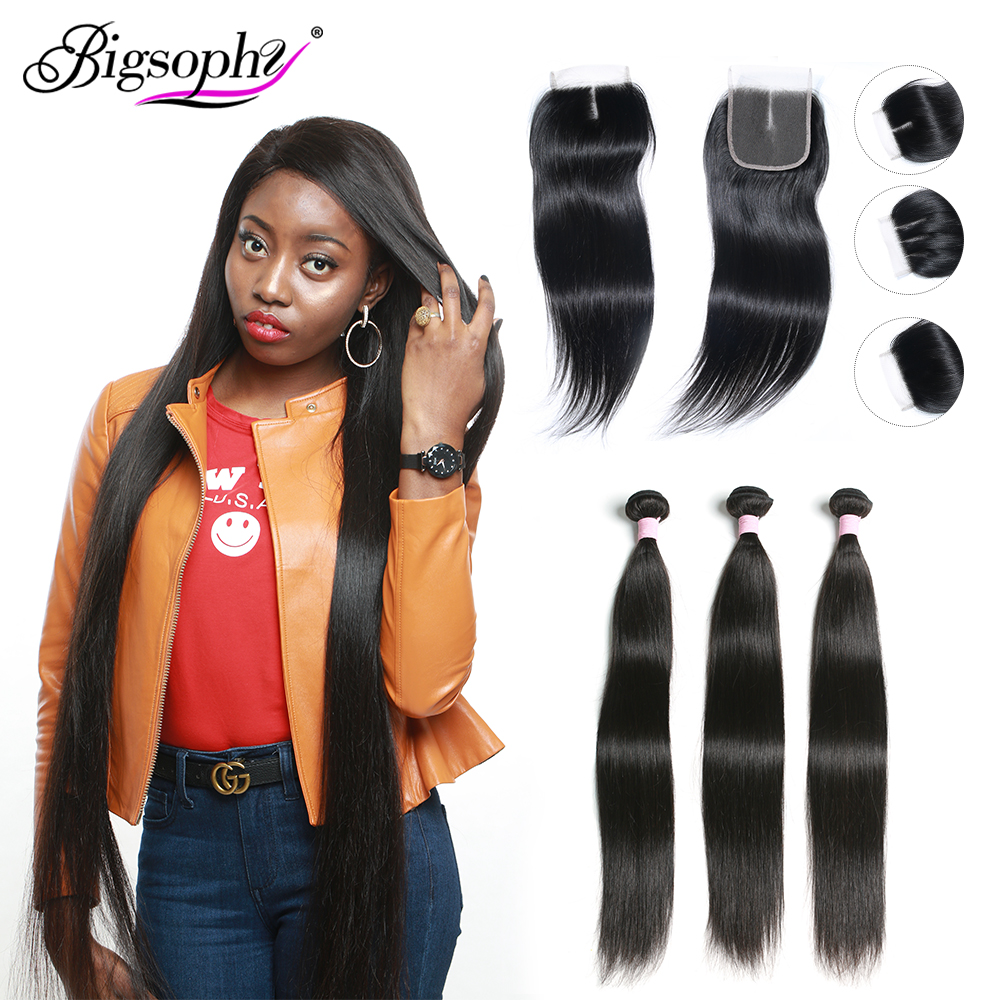 Brazilian Straight Hair Weave Bundles With Lace Closure Frontal Human Hair 32 40 Inch Deals 3/4 Bundles With Closure Remy Hair(China)