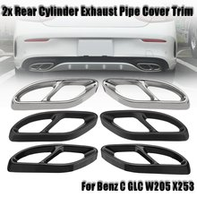 font b Car b font Auto Rear Dual Exhaust Pipe Stick Cover For Benz C