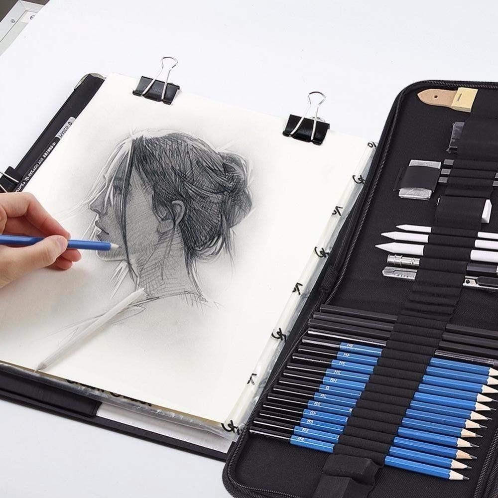 32PCS H B Sketch Painting Pencil Professional Art Paints Pen Sketching Drawing Kit Set Erasers Charcoal Stick Sharpener 0315732PCS H B Sketch Painting Pencil Professional Art Paints Pen Sketching Drawing Kit Set Erasers Charcoal Stick Sharpener 03157
