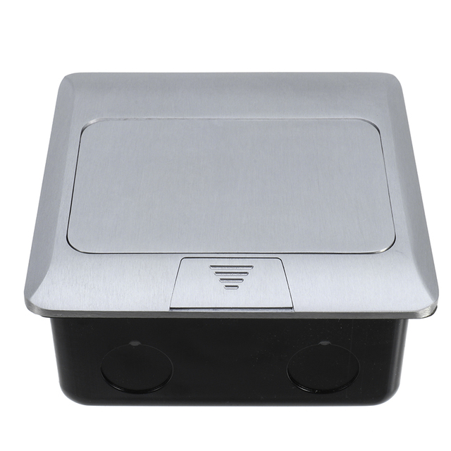 Aluminum Silver Panel EU Standard 2 Way  Floor Socket Electrical Outlet Modular Combination Customized Available Sockets