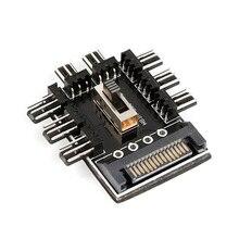 Toptan 1 ila 8 3Pin Fan Hub Pwm Sata Molex Splitter PC madencilik kablosu 12V güç kaynağı soğutucu soğutma hızı denetleyici adaptörü