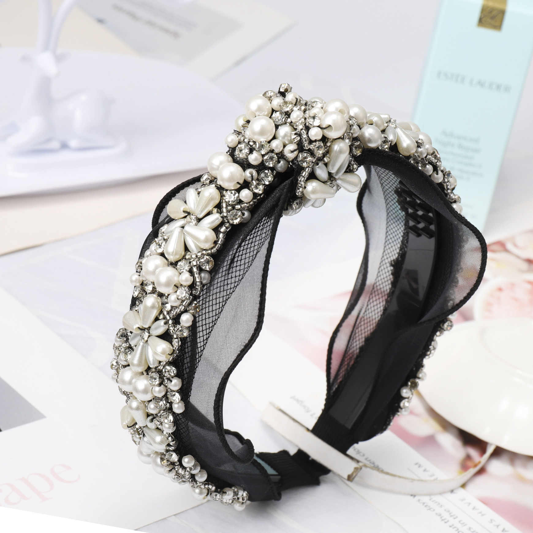 f83b2447e3 Lace Headband Diamond Pearl Rhinestone Hair Accessories Black Butterfly  Boutique Bow Hair Bands for Women Knot Haar Accessoires