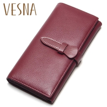 Vesna 100% Top Level Soft Leather Wallet Women Long Wallets Female Genuine Womens Card Holders Coin Purse