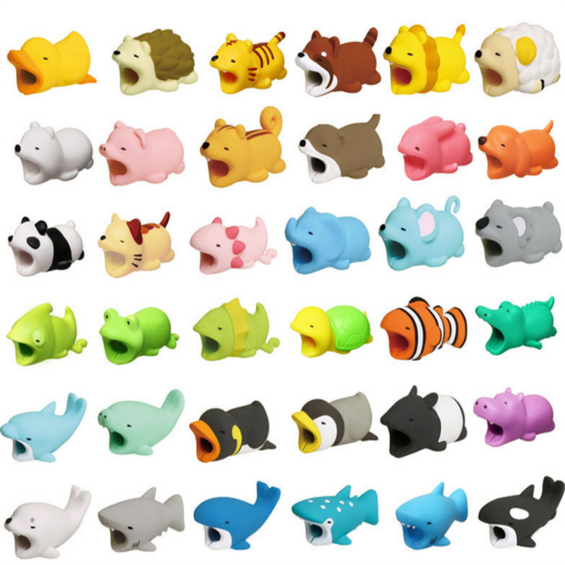 1pcs Kawaii Cable Bite Animal For Iphone Protector Shaped Winder Dog Bite Phone Accessory Prank Toy Funny