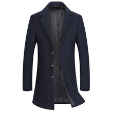 Casual Fashion Long Wool Coat Long Sleeve Solid Wool Blend Coat and Jacket Warm Single Breasted