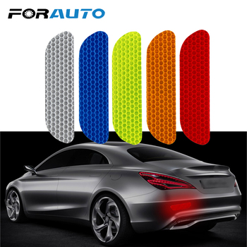 FORAUTO 4 Pieces/set Car Reflective Stickers Car Door Wheel Eyebrow Sticker Decal Warning Tape Safety Mark Reflective Strips