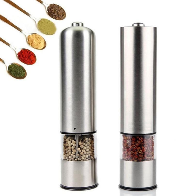 Molinillo Eléctrico de pimienta y sal molinillo de pimienta aspereza ajustable molinillo de especias Muller herramienta de cocina batería no incluidaMolinillos   -