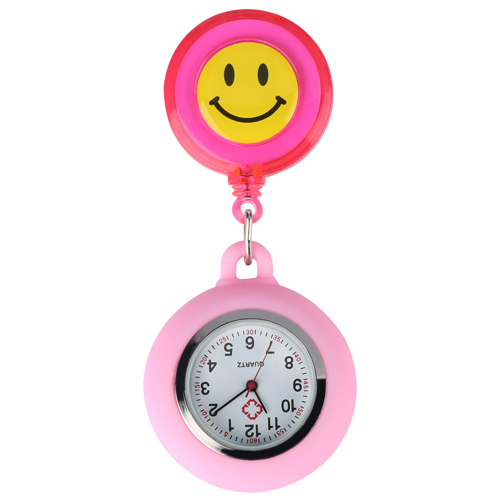 Yellow Smiling Face Dial Nurse Pocket Watch Colorful Retractable Rope Stainless Steel Pendant Clock Clip Quartz Pocket Watches