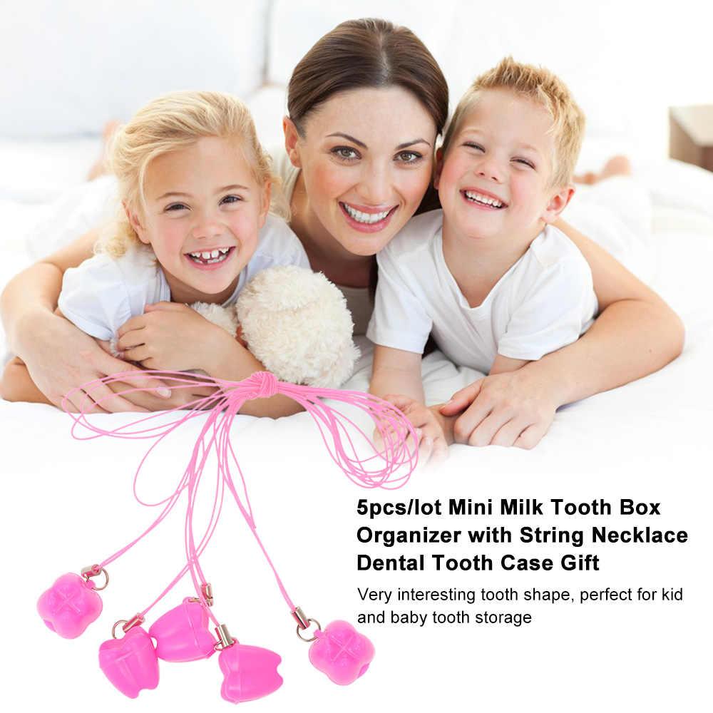 5 ชิ้น/ล็อตเด็กพลาสติก Mini ฟันกล่องที่มีสร้อยคอนมกล่องฟันทันตกรรมฟันกรณีของขวัญ