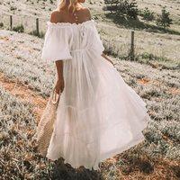 Simple Summer Boho White Travel Women Long Dresses Off Shoulder Pleated Lace Up Lantern Sleeve Loose Elegant Ladies Beach Dress
