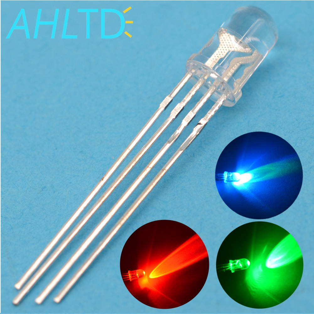 500pcs 5mm Round 4pin F5 RGB Emitting Diode Led Common Cathode Tri-Color water clear bright Ultra-Bright LED Red Green Blue Lamp