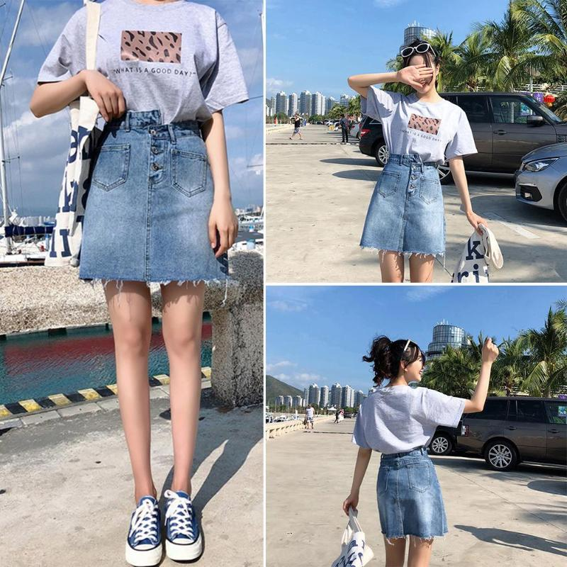 Summer New Teenagers Women Denim Skirt Female Basic High Waist Irregular A Line Mini Casual Button Pockets Blue Jean Skirts