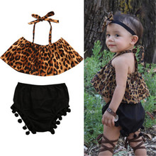 Cute Kids Baby Girls Outfits Clothes Halter Leopard T-shirt