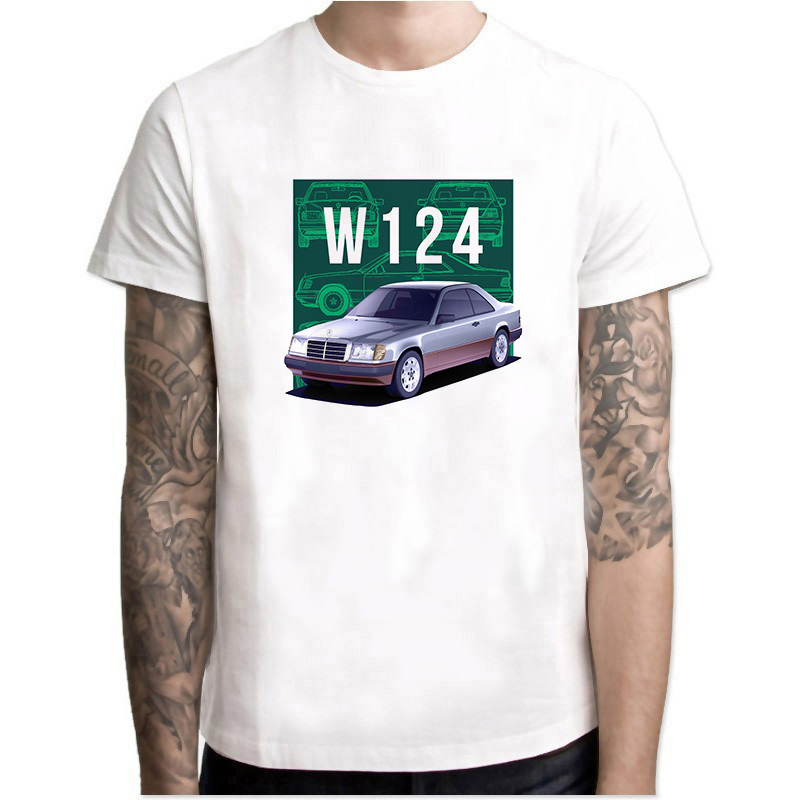 W124 Class Men   T     Shirts   Round Collar Tops Short Sleeve O-neck Cotton Clothes Youth Car Styling white   T  -  shirt