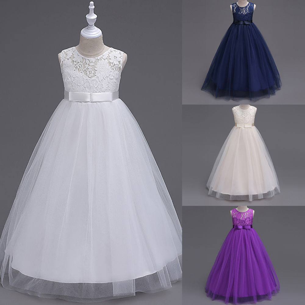 Flower Girls Chiffon Dresses Princess Sleeveless Wedding Bridesmaid Pageant Formal Dress Purple White High Quality Dress 3 12Y in Cover Ups from Sports Entertainment