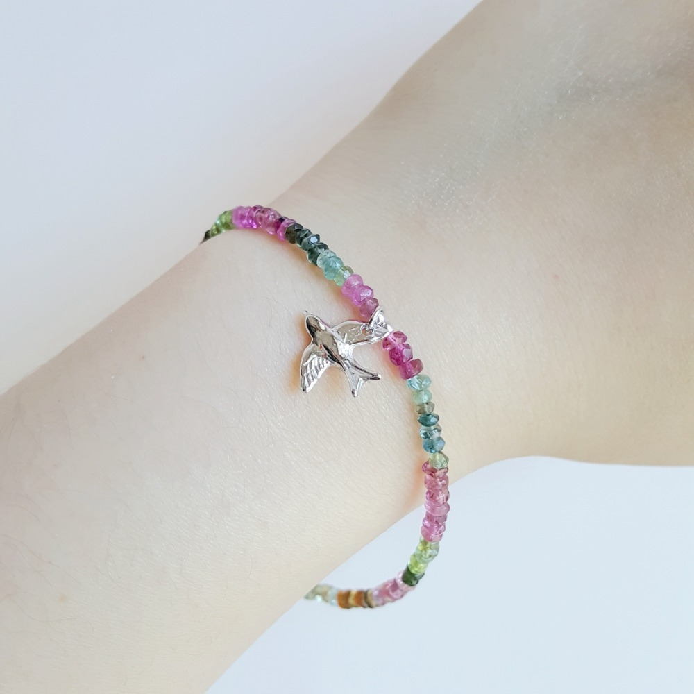 LiiJi Natural Rainbow Tourmalines Bracelet 925 Sterling Silver Peace Pigeon Birds Charm Delicate Bracelet For Women