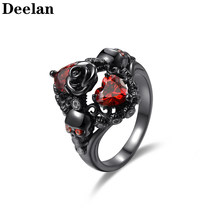 DEELAN Rings for Women Charm Fashion Gothic Skull Black Gold Jewelry Classic Party Wedding Friendship Girls Ring Valentine Gifts(China)