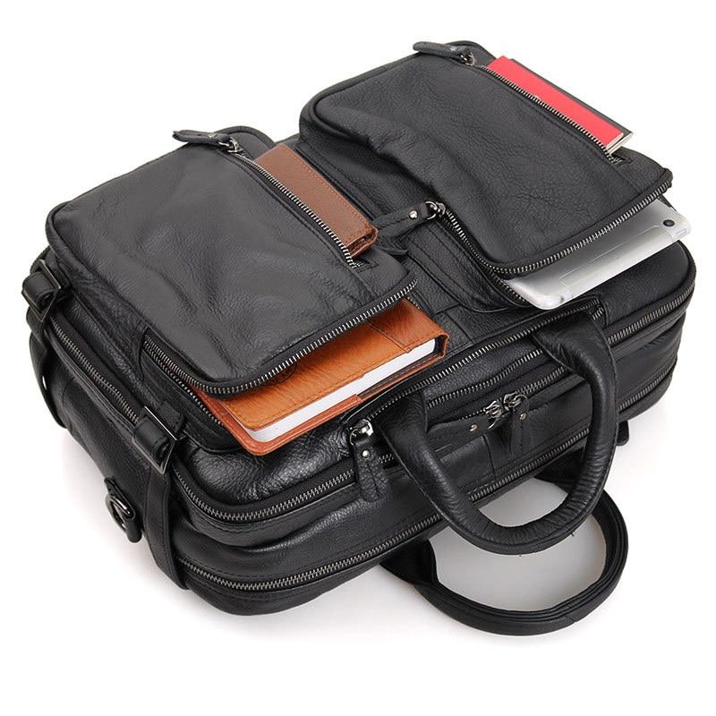 Leather Genuine Leather Laptop Bag Handbags 728-40 Cowhide Men Crossbody Bag Multipurpose Men's Travel Brown Leather Briefcase