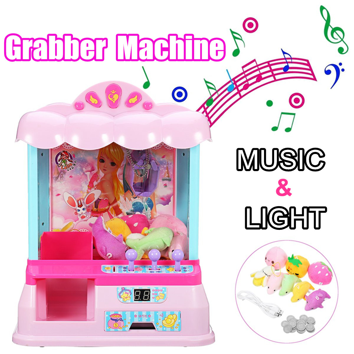 Catcher Coin Operated Game Machine Kids Candy Grabber ABS Plastic Electric Claw Machine Crane Token Home Toys With Music LightCatcher Coin Operated Game Machine Kids Candy Grabber ABS Plastic Electric Claw Machine Crane Token Home Toys With Music Light