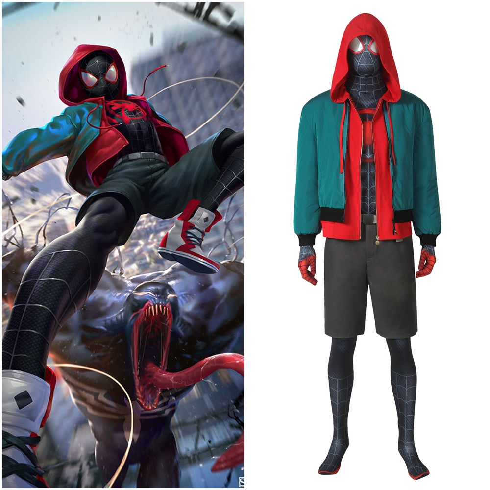 Spider-Man Into the Spider-Verse Miles Morales Cosplay Costume Jacket Outfit Version 1