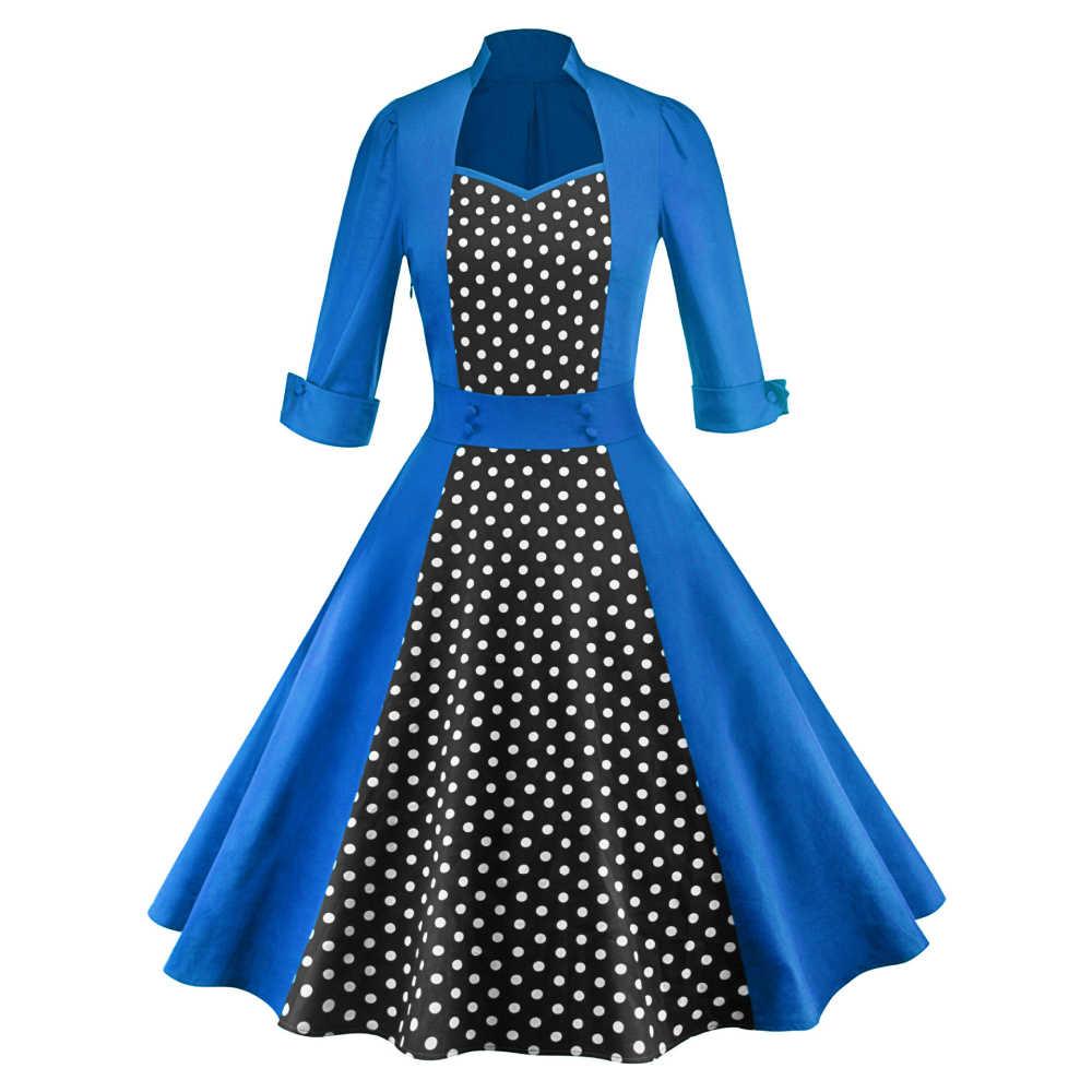 Wiaplo Wanita Vintage Pinup Polka Dot Gaun Jahitan Ayunan Pesta Malam Rockabilly Dress Button Zip Garis Gaun