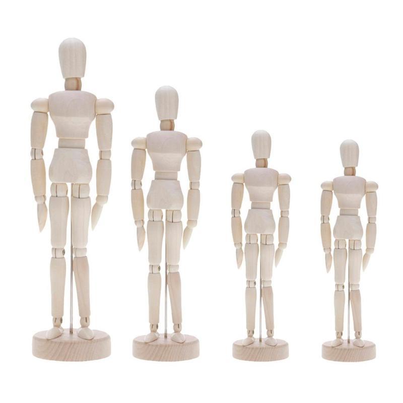 Handmade Wooden Movable Limbs Human Figure Model Artist Sketch Draw Decor Modern Miniature Figurines DIY Crafts Home Decoration