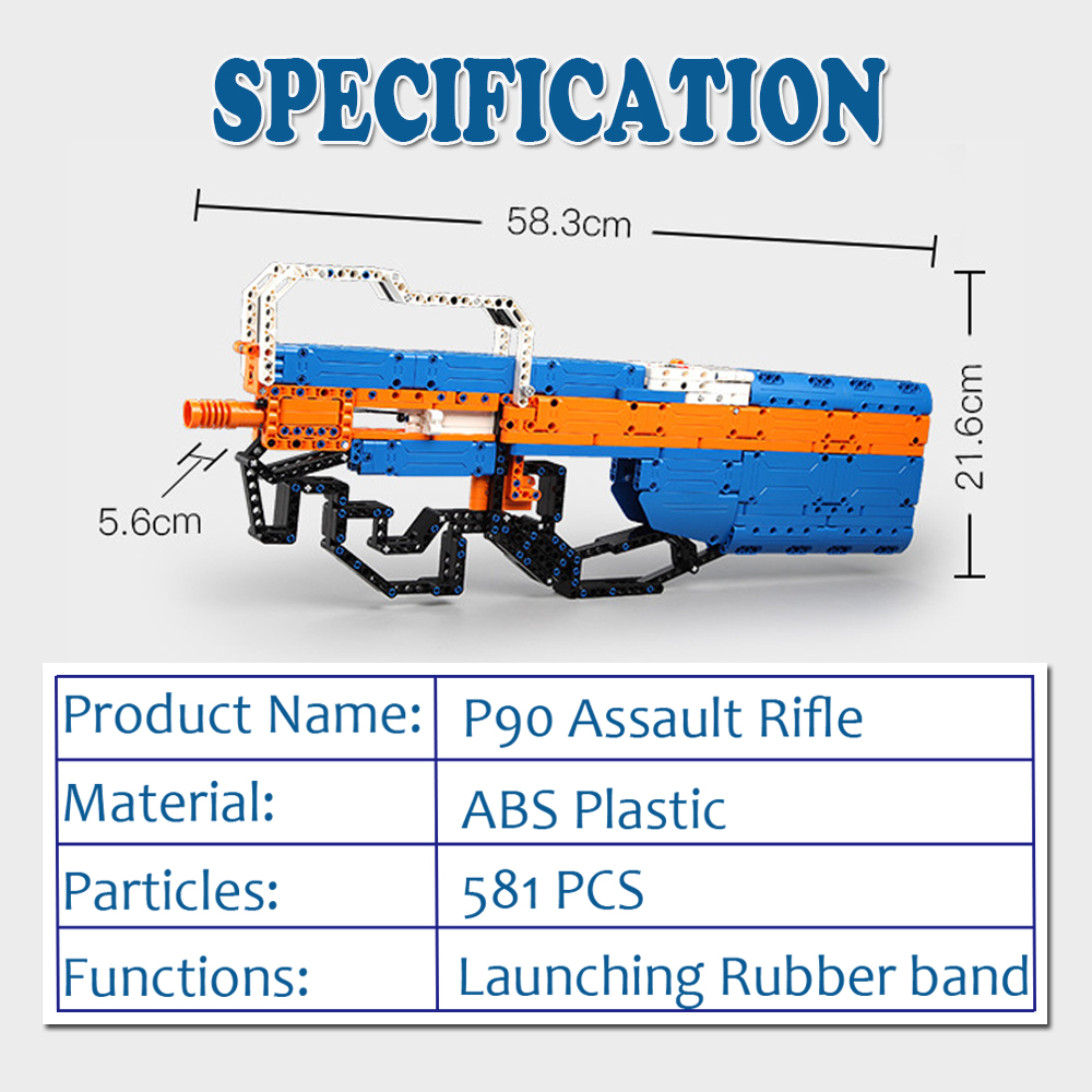 building blocks P90 Assualt Rifle gun  military bricks weapon set can fire  rubber band  toy for children boys 1