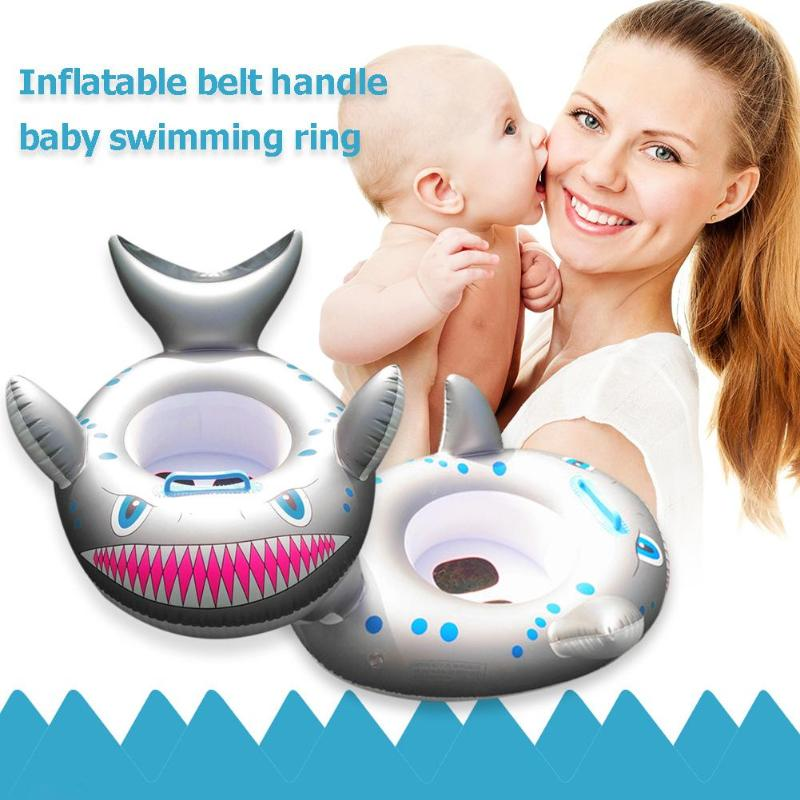 Animal Style Safety Pool Accessories Baby Ring Cartoon Shark Inflatable Baby Swimming Ring Toddler Neck Float Circle Seat