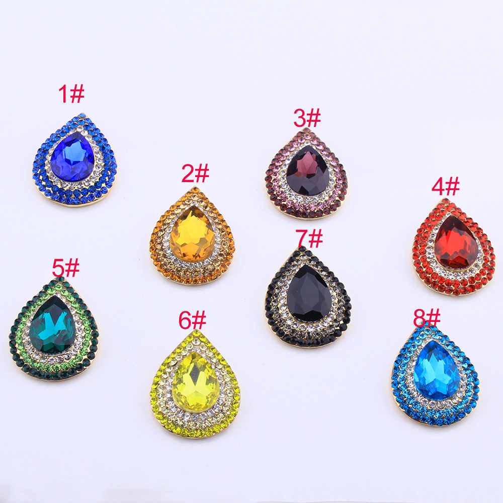 20pcs Water Drop Flatback Buttons for DIY Hair Accessories Jewelry Making