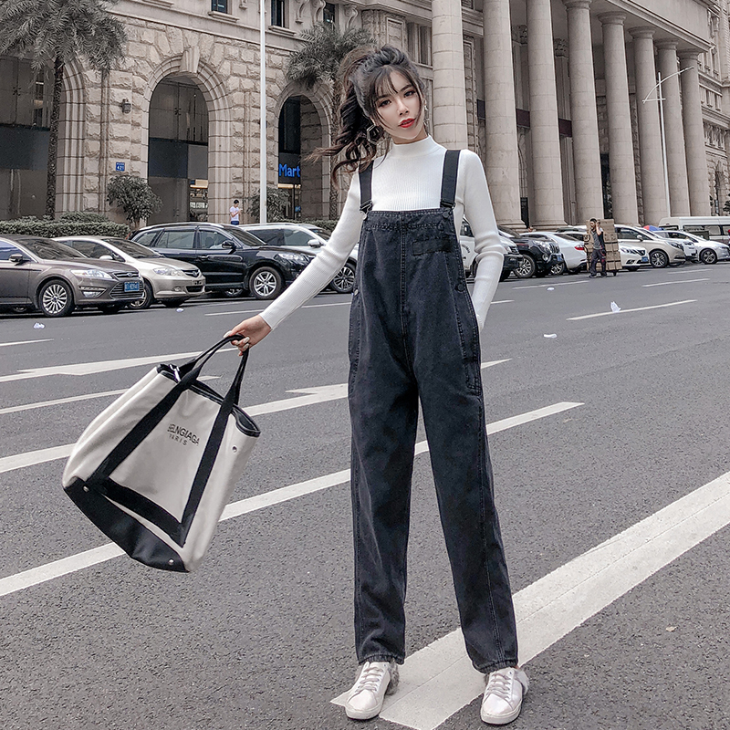 High Waist Korean Style Women Denim Jumpsuit 2019 Spring Autumn Overalls Side Buttons Design Loose Casual Jeans Rompers