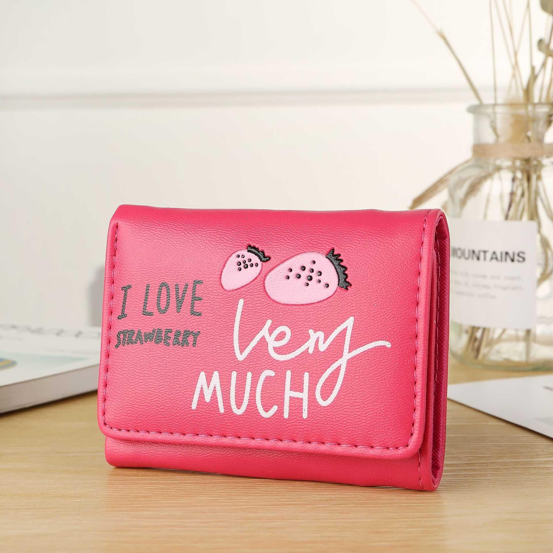 df2f14531cd8 Cartoon Short Wallet Letter Embossed Tri-Fold Wallet Card Wrapper Student  Change Small Wallet Trend Wallet