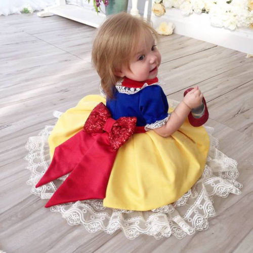 Toddler Newborn Baby Kids Girls Lace Bow Sequin Tutu Dresses Pageant Party Bridesmaid Wedding Formal Princess Dress Cute Clothes