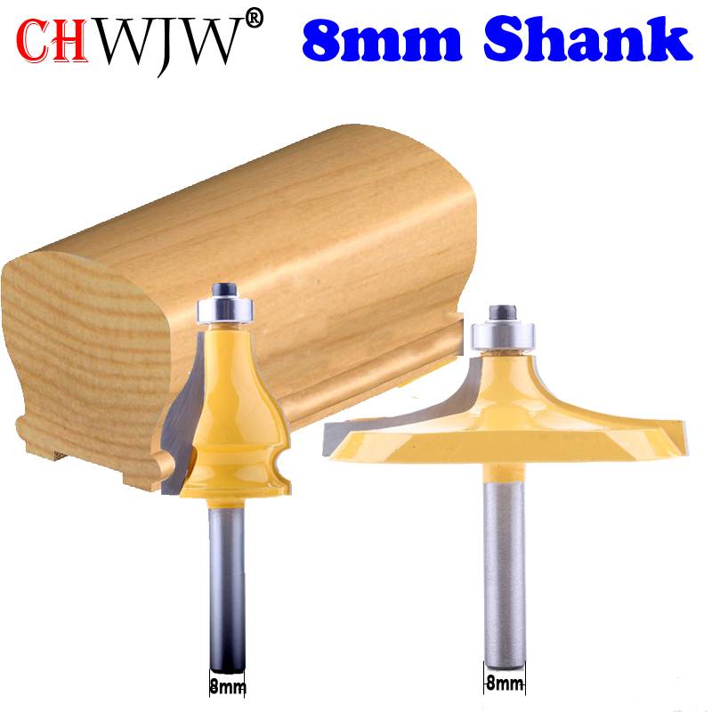 2PC 8mm Shank Thumbnail & Beaded 2 Bit Handrail Router Bit Set Line Knife Woodworking Cutter Tenon Cutter For Woodworking Tools