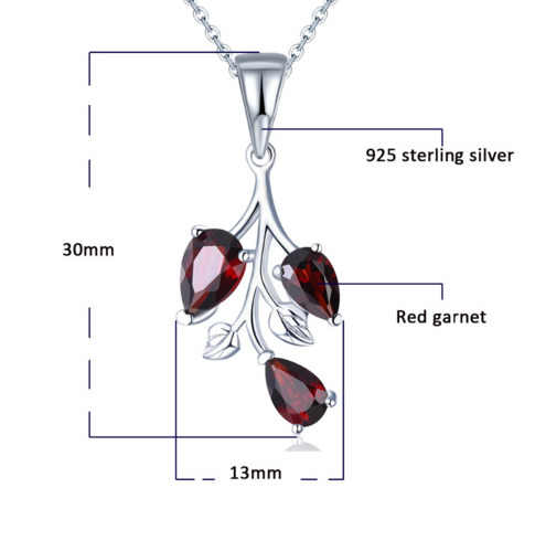 New Solid 925 Sterling Silver Natural Stone Garnet Leaf Pendant Necklace Fashion Collier Jewelry For Women Bijoux Femme Colar