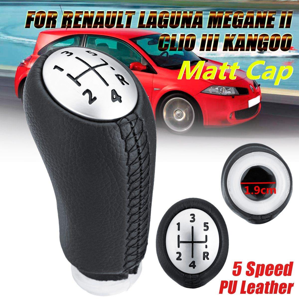 Leather Gloss Matt Cap 5 Speed Car Gear Shift Knob Stick For Renault Laguna Megane 2 Clio 3 2003-2009 Kangoo 2009 Replacement