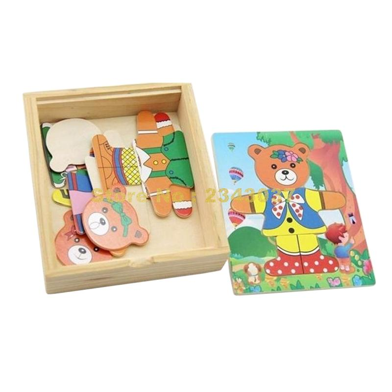 Wooden Puzzle Educational Bear Toys Change Clothes Puzzles Baby Clothing Puzzles Children\s Wooden Toys Sophisticated Technologies Puzzles