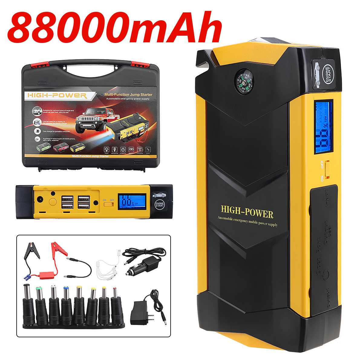 82800mAh 12V 4USB High Power Car Battery Charger Starting Car Jump Starter Booster Power Bank Kit For Car Auto Starting Device(China)