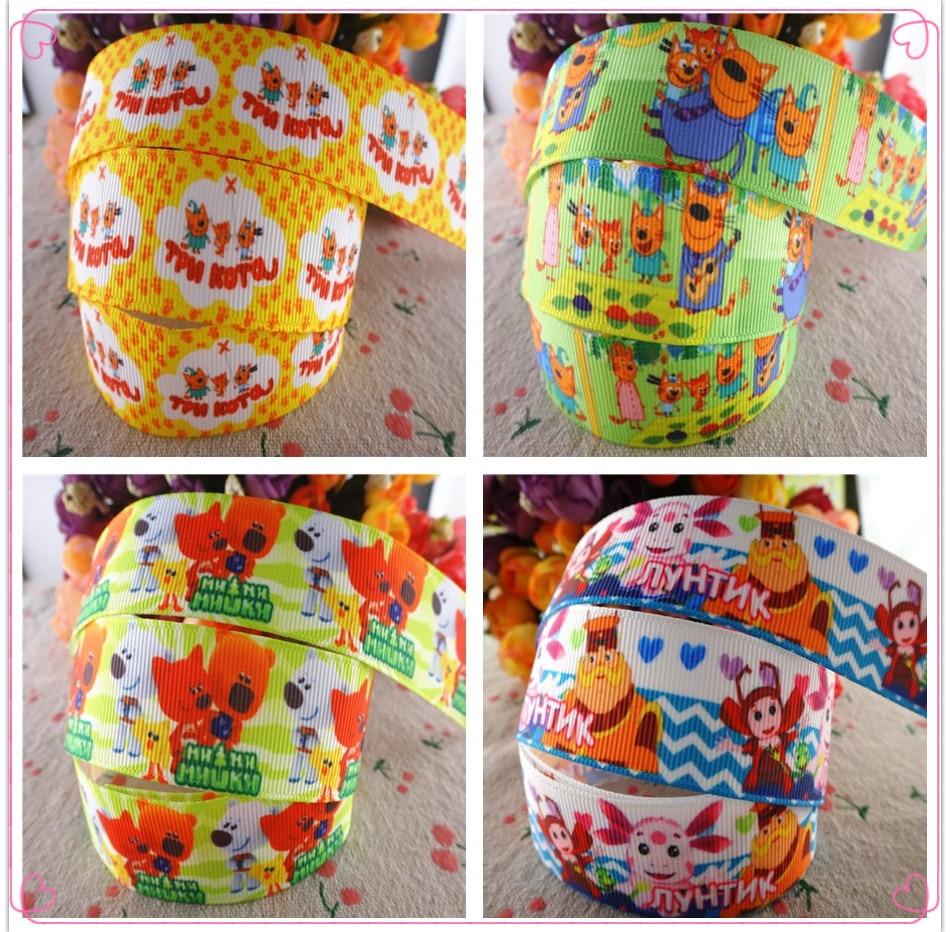1 «(25 мм) 5 ярдов/партия мультфильм печатных grosgrain ленты Животные ленты DIY ручной работы материалы MD18022601