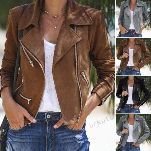 Women Ladies Leather Jacket Coats Zip Up Biker Casual Flight Top Coat Outwear