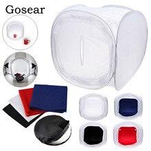 Gosear 60x60 cm طوي استوديو الصور اطلاق النار مصباح خيمة نشر لينة مربع الفوتوغرافي Softbox مع 4 ألوان الخلفيات للتصوير