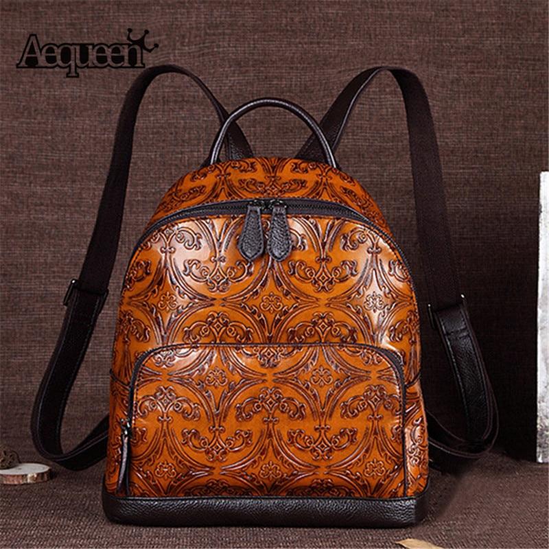 69c9e8c16b1b AEQUEEN Для женщин Винтаж тиснением рюкзак из натуральной кожи рюкзак  портфель высокое качество воловья ранец дамы Travel Pack сумки