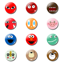 12Pcs Lovely Cartoon 25MM Fridge Magnet Kawaii Smile Emoji Glass Dome Note Holder Magnetic Refrigerator Stickers Home Decoration