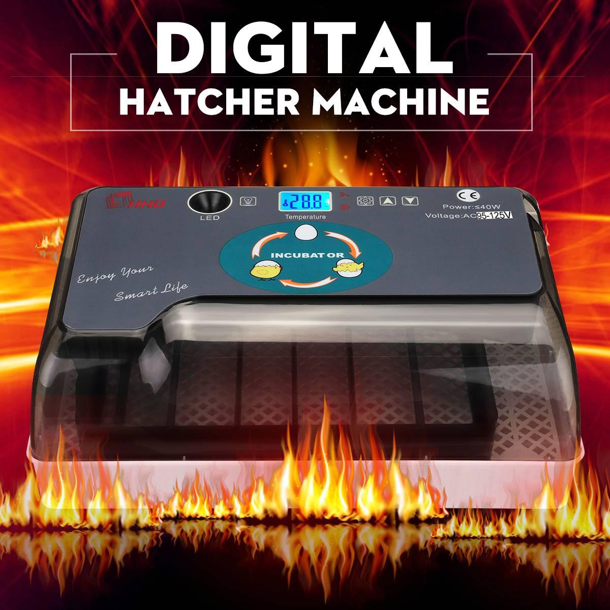 12 Eggs Mini Automatic Digital Eggs Incubator Hatcher Turning Machine Chicken Duck Bird LED Digital Eggs Incubators