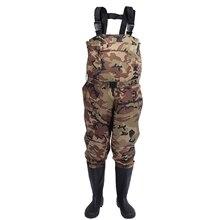 Мужские утолщенные нейлоновые водонепроницаемые штаны для рыбалки, уличные охотничьи уличные камуфляжные дышащие износостойкие болотные комбинезоны