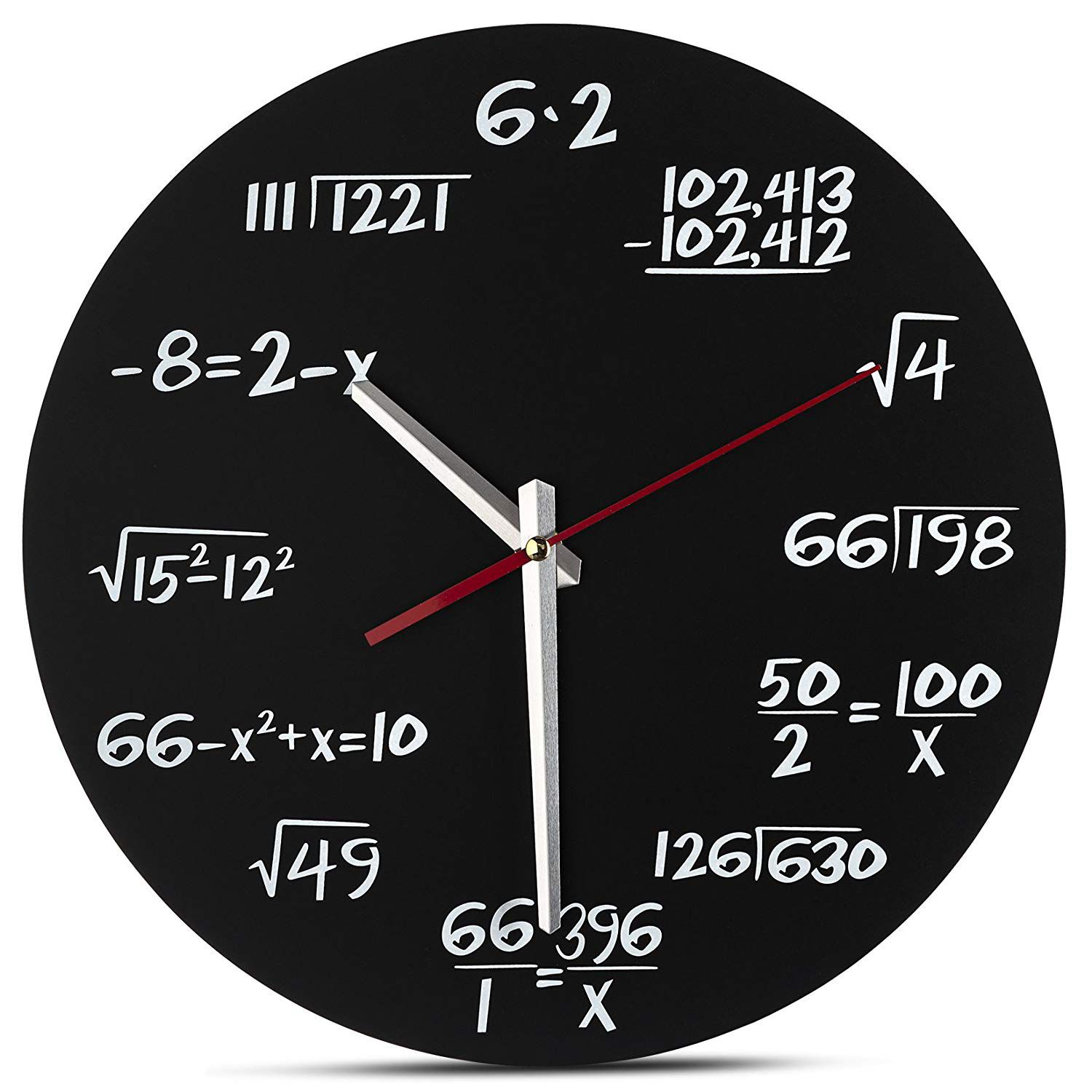 Math Wall Clock - Unique Wall Clock - Each Hour Marked By A Simple Math Equation
