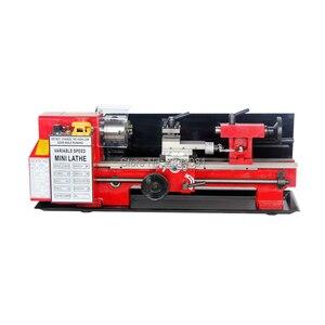 Image 2 - 550W Mini high Präzision DIY Shop Tisch Metall Drehmaschine Werkzeug Maschine Variabler Geschwindigkeit Fräsen 100mm chuck 350mm arbeits länge