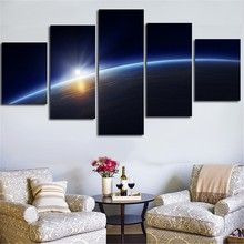 Modular Home Decor Canvas Paintings Frame Living Room 5 Pieces Earth Milky Way Space Poster HD Prints Planet Pictures Wall Art