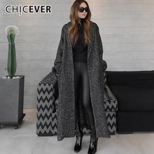 CHICEVER Autumn Winter Women's Coats Female Jackets Lapel Long Sleeve Loose Oversize Black Lace Up Coat Fashion Casual Clothes